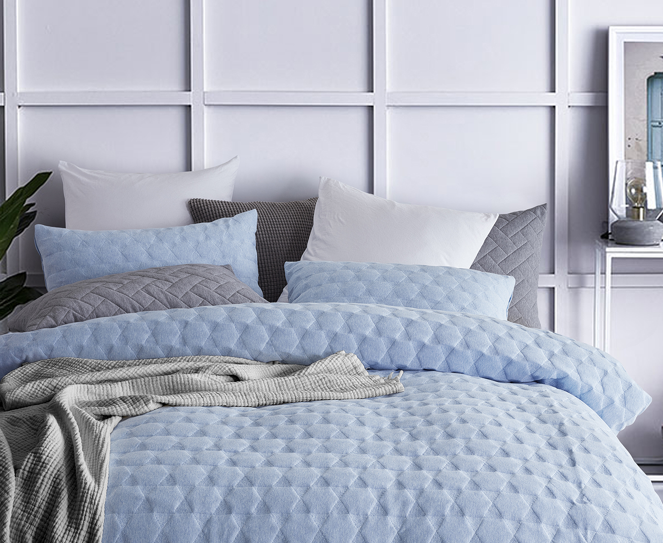 Gioia Casa Quilted Jersey Cotton Queen Bed Quilt Cover Set - Blue Marble