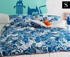 KAS Howie Single Bed Quilt Cover Set - Blue 1
