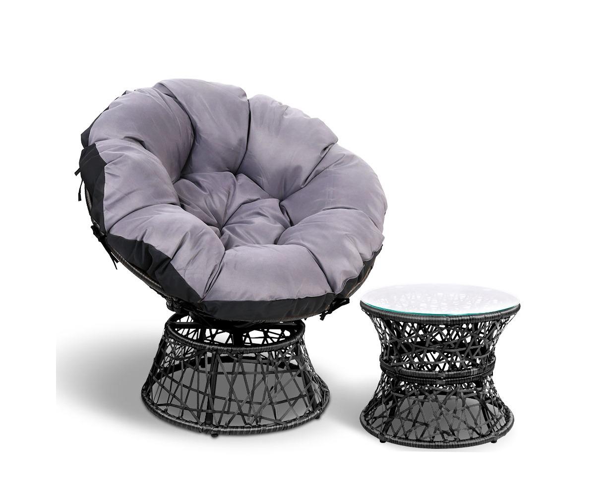 Gardeon Papasan Swivel Chair Table Outdoor Indoor