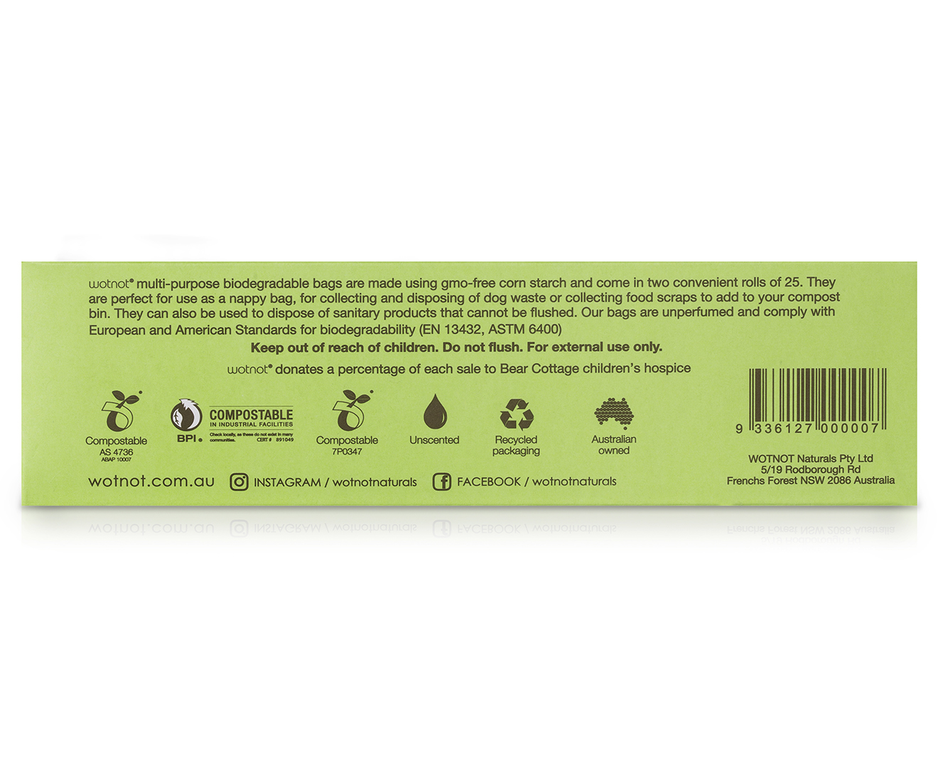 Wotnot Biodegradable Compostable Corn Starch Nappy Dog Bag 50 Pack