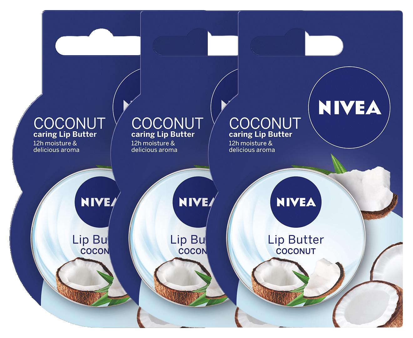 3 X Nivea Lip Butter Coconut Ros 167g