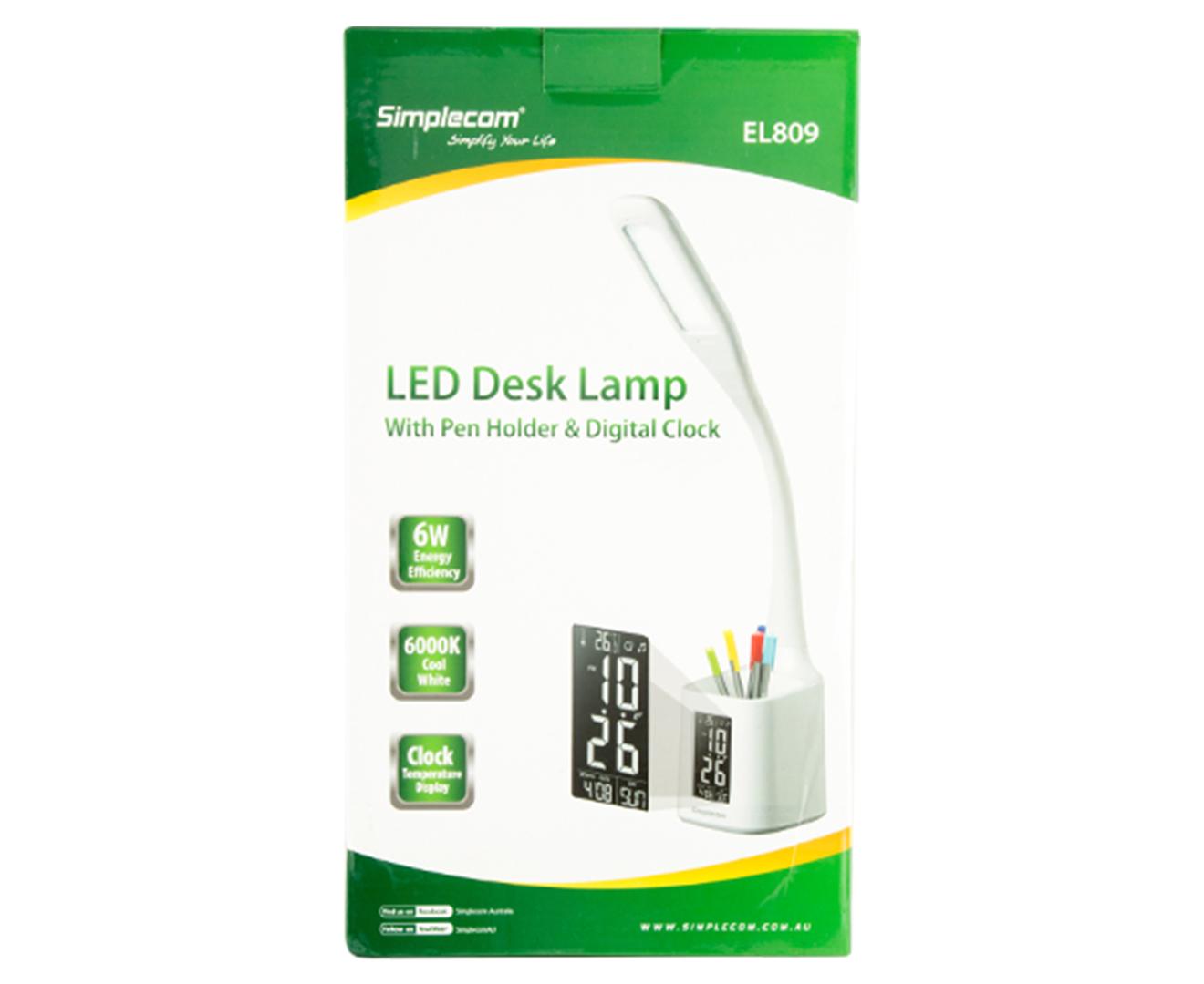 NEW Simplecom EL809 Flexible LED Desk Lamp Pen Holder Digital Clock Temperature!