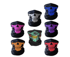 WJS 2PCS Of Multi-function Variety Skull Magic Scarf Mask Warm Scarf Halloween Props 2
