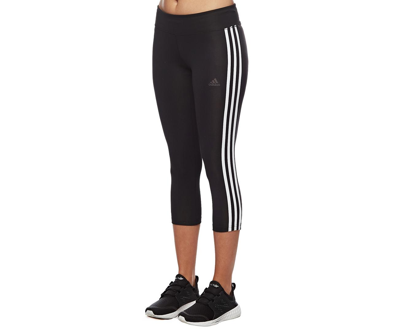 Details about Adidas Women's Designed 2 Move Climalite 3 Stripe 34 Tight BlackWhite