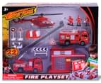 Diecast Fire Playset: Fire Engine, Helicopter, Truck 1