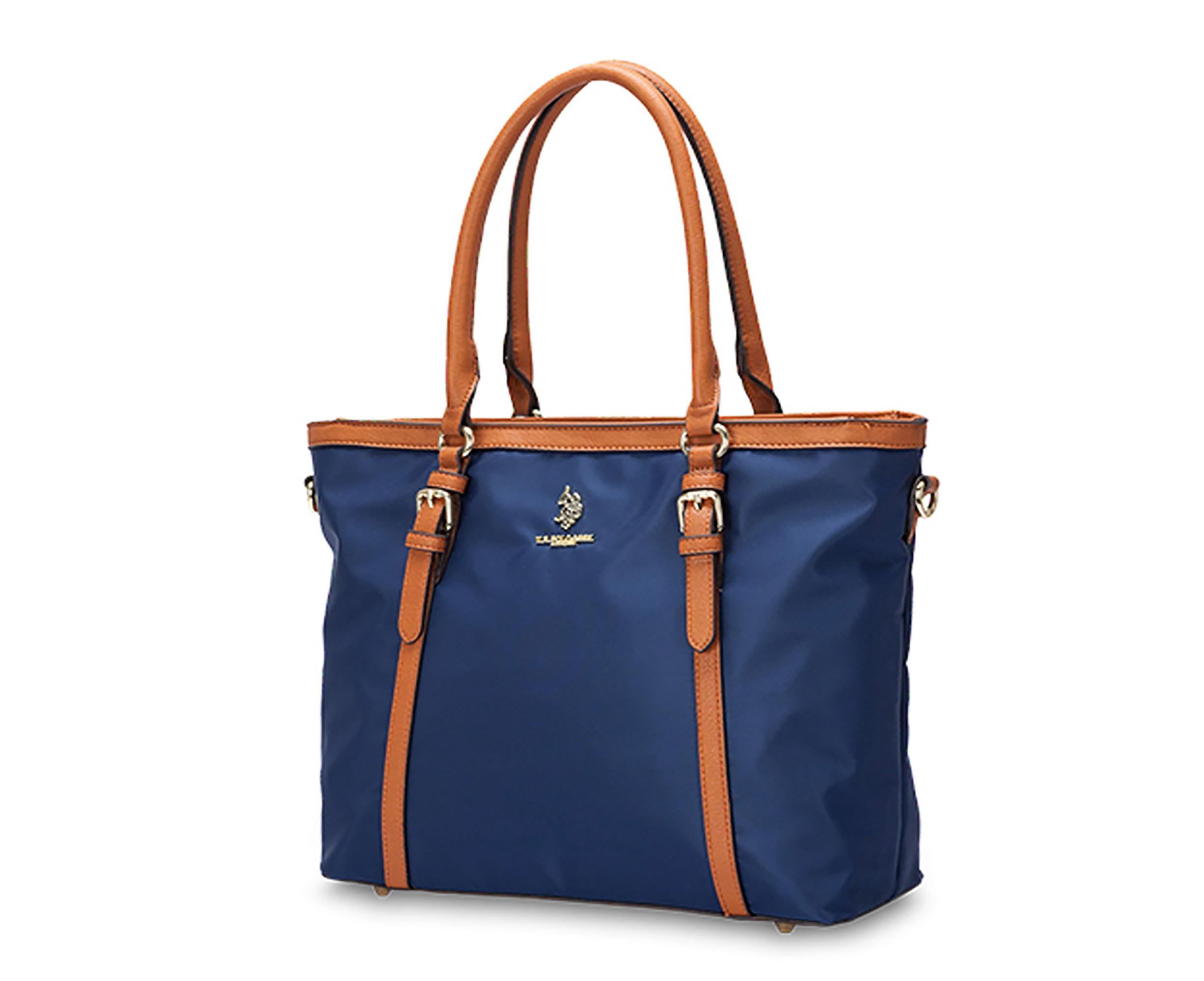 b218c5198b US POLO ASSN. Womens Houston Shopping Shoulder Handbag Satchel Tote Bag  Nylon With Strap - Navy