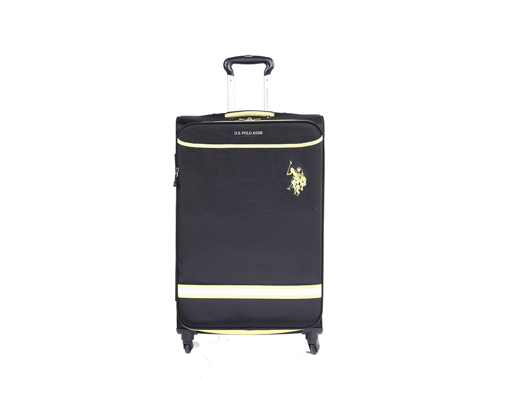 aee40f0613 US POLO ASSN 3-Piece Match 4W Polyester 4-Wheel Suitcase Travel Trolley Bag  Luggage Set - Black