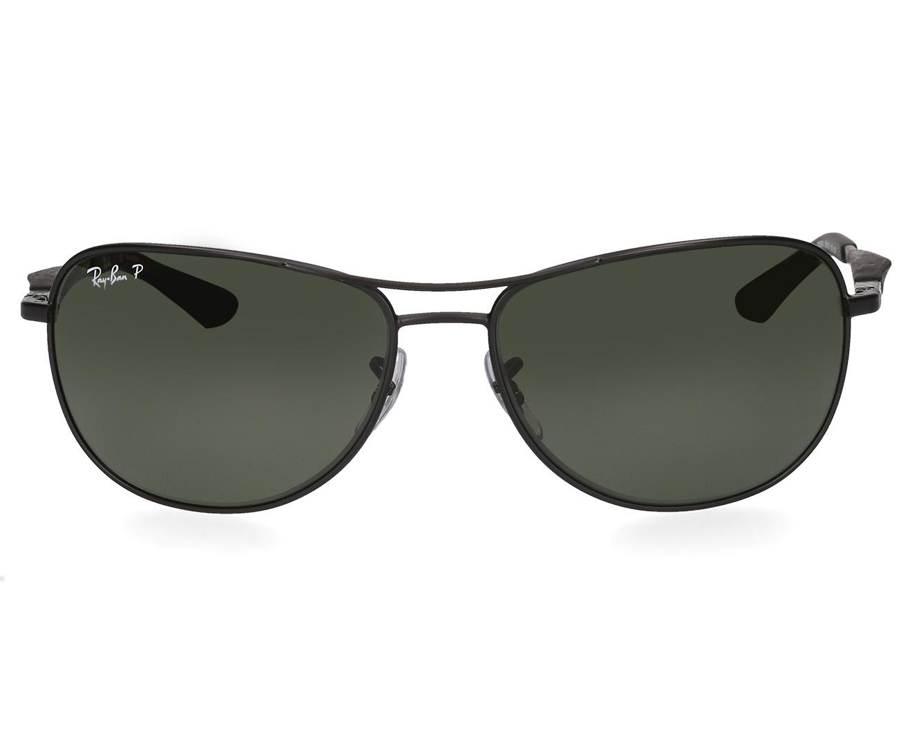 d896719348 Ray-Ban RB3519 Polarised Aviator Sunglasses - Matte Black Polar Green