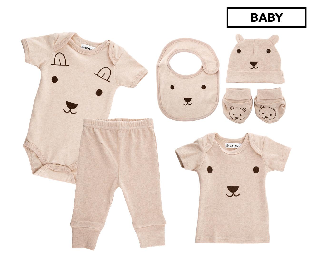 Gem Look Baby Size 0-6 Months Teddy Bear Organic Cotton 6-Piece Set