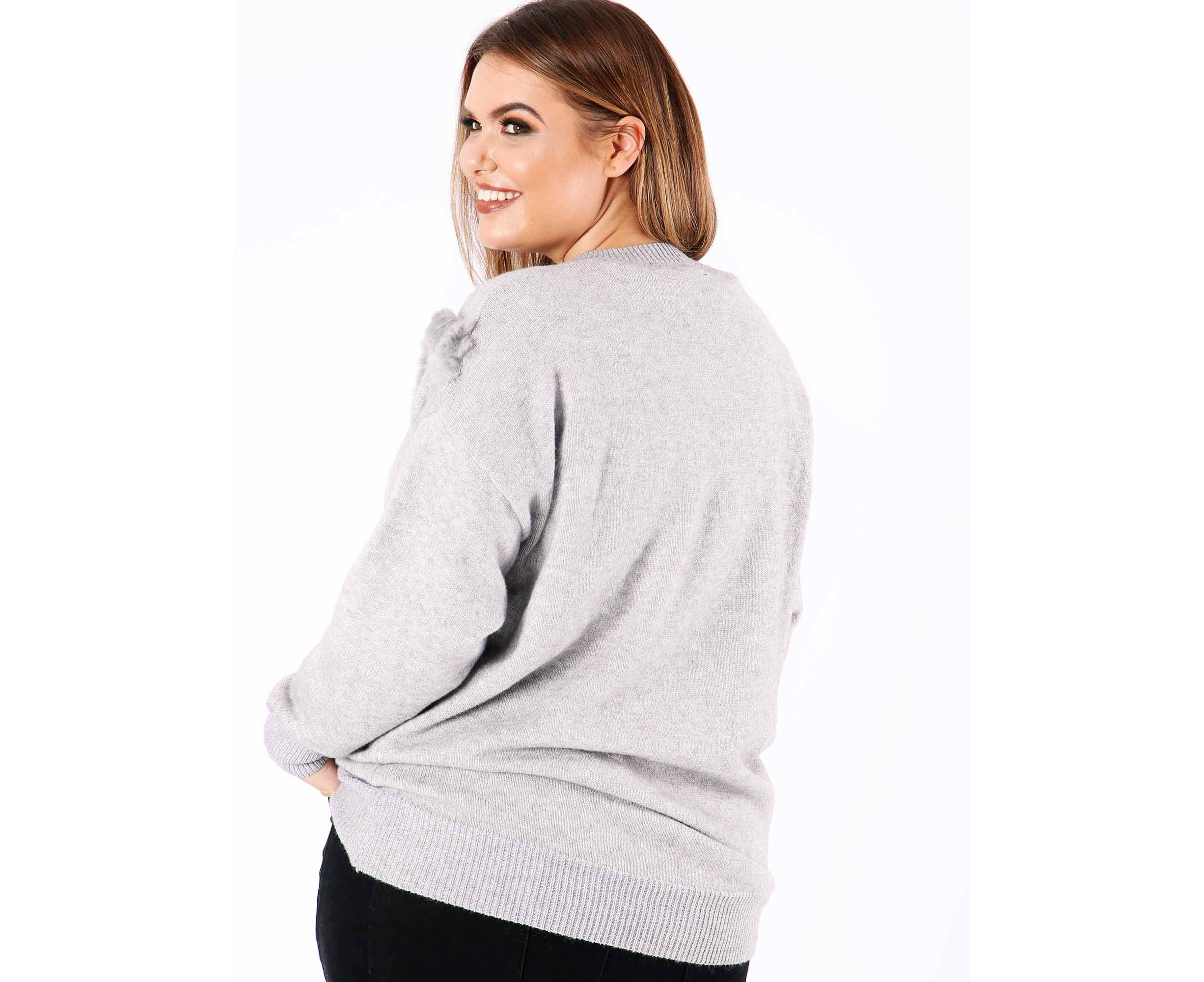 6546e9b9d16 Koko Women s Plus Size Faux Fur Chevron Jumper in Grey