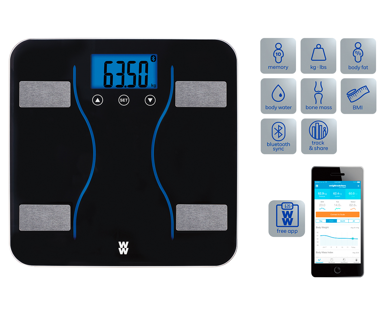 Weight Watchers Body Analysis Bluetooth Diagnostic Scale WW310A