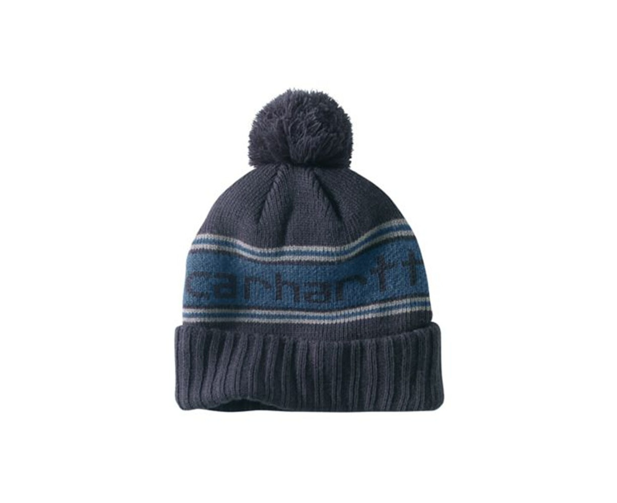 Carhartt Rexburg Hat - Navy Rib Knit Hat with Carhartt knitted logo front  7a68f1557cdd