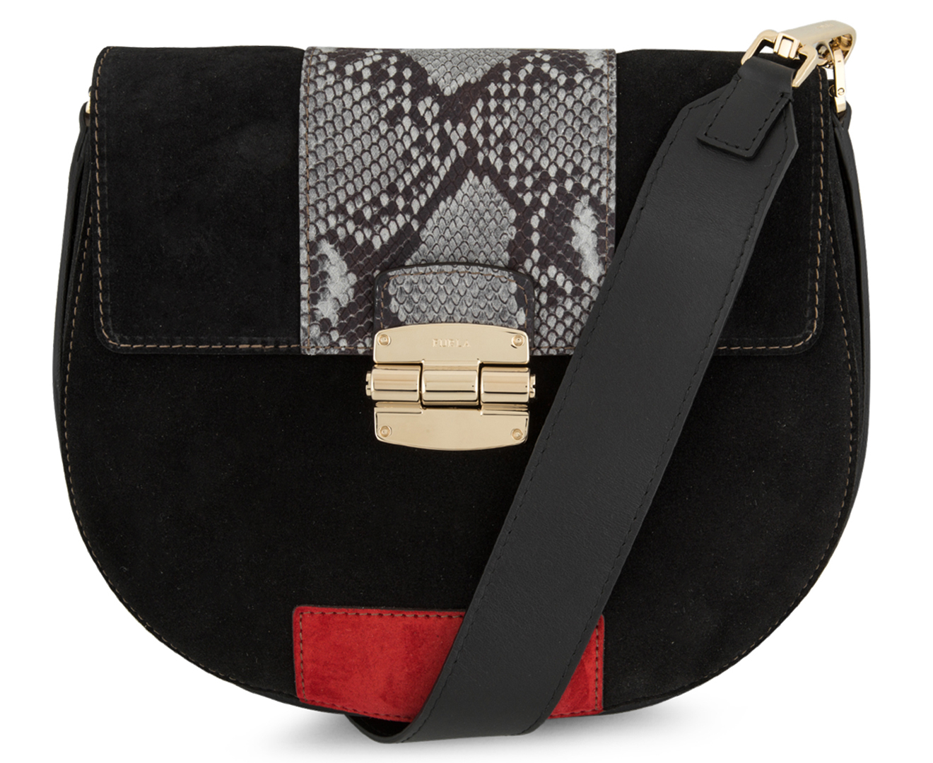 Furla Club Crossbody - Onyx Ruby Argilla   Catch.com.au cc2d4f2a07