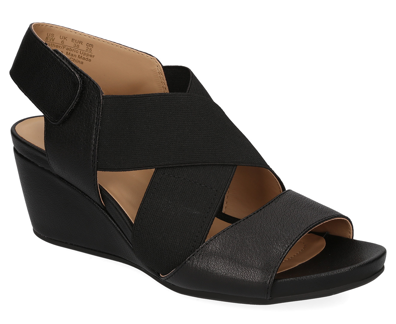 Details about Naturalizer Women's Cleo Wedge Sandal Black