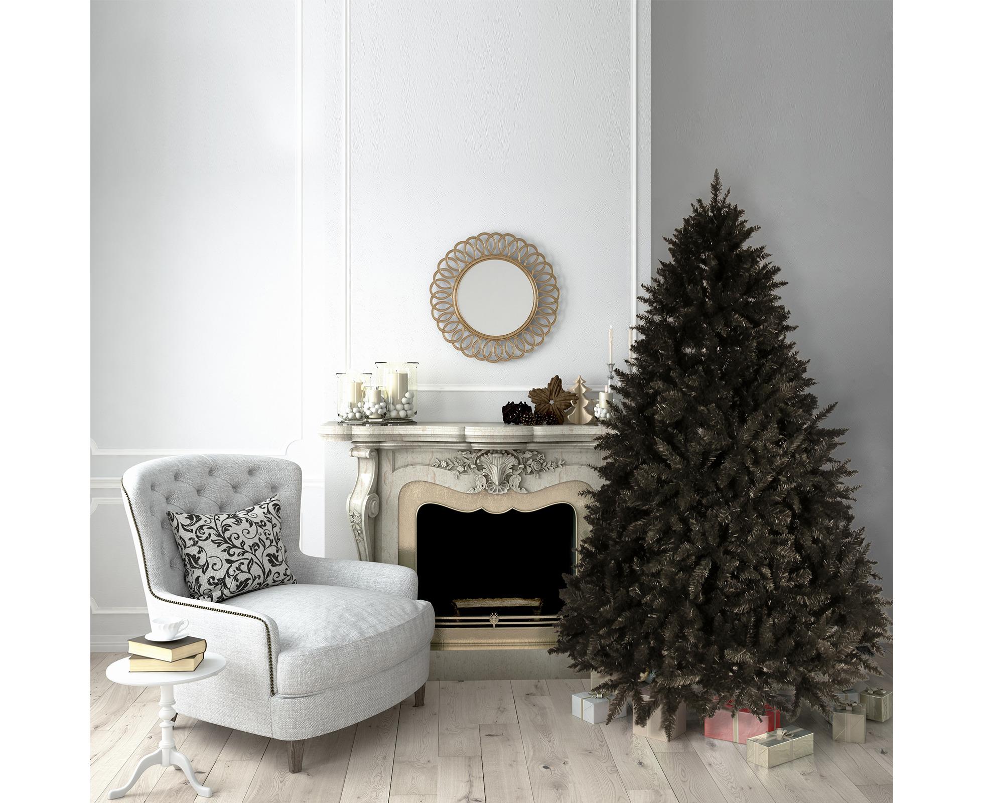 8ft Christmas Xmas Tree Black Bavarian Premium Pine Hinged