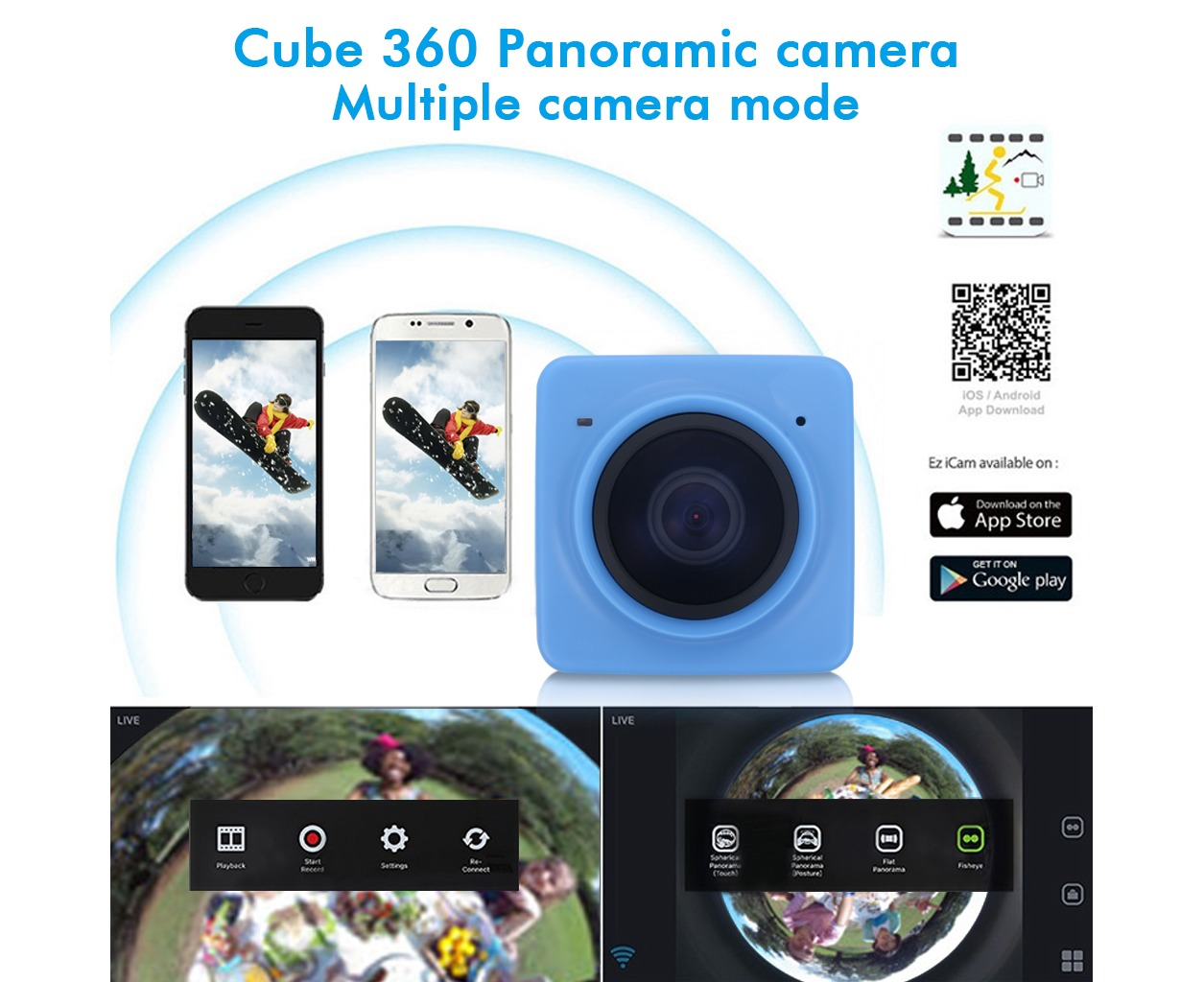 CUBE 360 Degree Wide Angle Action Camera Sports Video DV WIFI H 264 1280 x  1042 Panorama-Blue