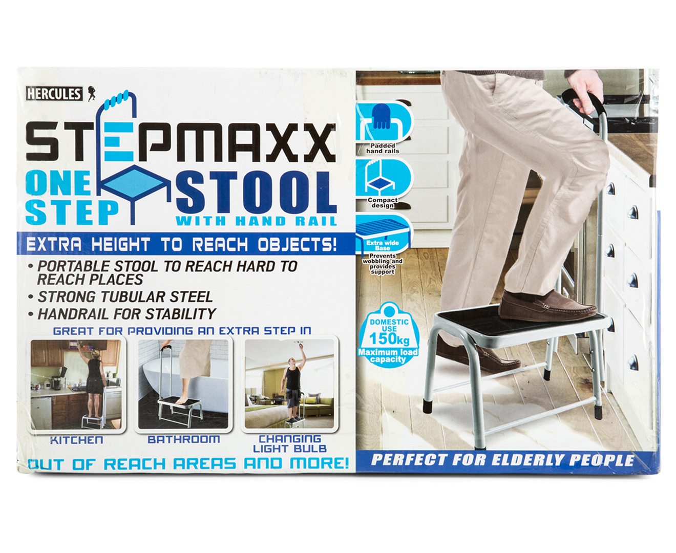 Hercules Stepmaxx One Step Stool w/ Rail - White
