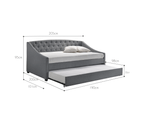 Daybed with Trundle Bed Frame Sofa Fabric Upholstery 6
