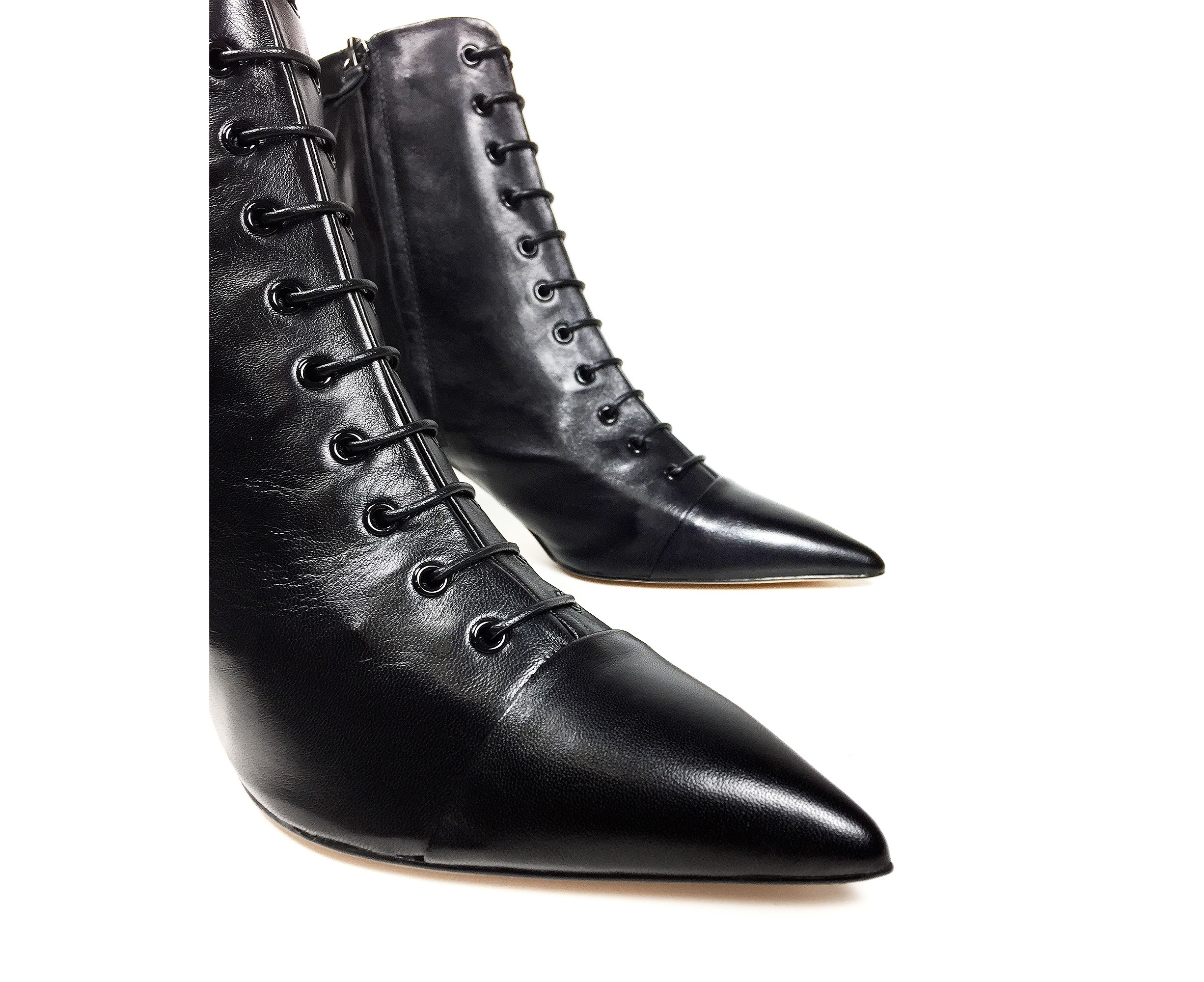 970f9a8cfe5 Zara Women Lace-up leather high heel ankle boots 5144 301