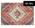 Rug Culture 230x160cm Babylon Diamond Vintage Look Rug - Multi/Red 1