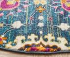Rug Culture 240x240cm Babylon Flower Field Vintage Look Round Rug - Blue/Multi 3