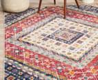 Rug Culture 230x160cm Babylon Diamond Vintage Look Rug - Multi/Red 6