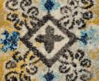 Rug Culture 330x240cm Babylon Garden Circle Vintage Look Rug - Blue/Yellow 4
