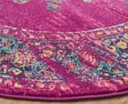 Rug Culture 150x150cm Oriental Vintage Look Round Rug - Fuschia/Multi 2