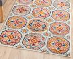Rug Culture 300x80cm Babylon Garden Circle Vintage Look Runner Rug - Multi/Rust 6