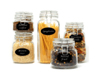 Assorted Set of 5 Clip Top Glass Storage Jars | M&W 1