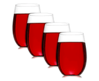 Pack of 4 Unbreakable Wine Glasses   Reusable Shatterproof Plastic Cups   M&W 1