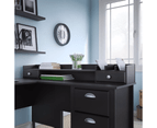 Connecticut L Shape Corner Desk with Hutch Organisor - Black Suede Oak 5