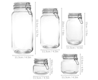 Assorted Set of 5 Clip Top Glass Storage Jars | M&W 3