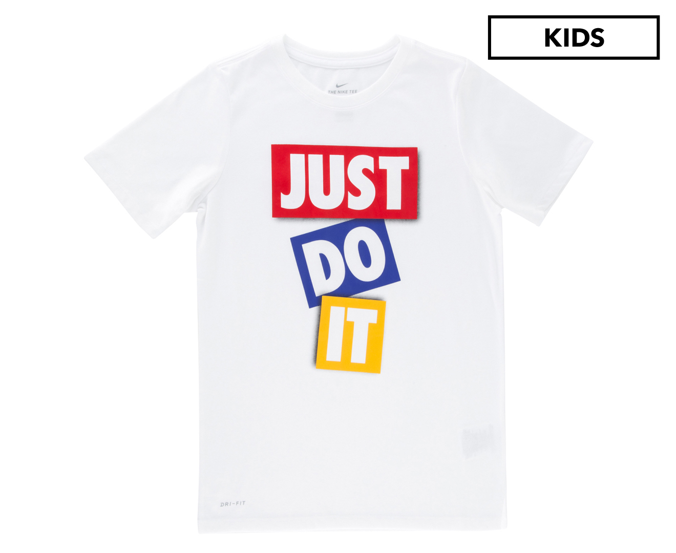 90fafa44bc Details about Nike Boys' Dry-Fit 'Just Do It' Tape T-Shirt - White