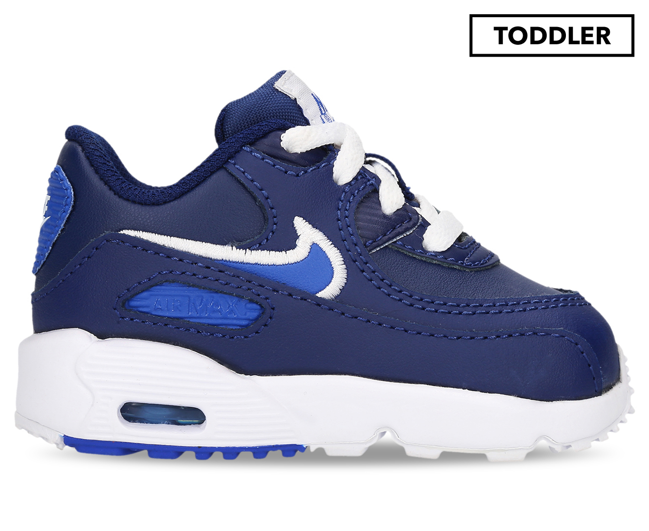 Details about Nike Toddler Boys' Air Max 90 Leather Shoe Blue VoidGame Royal White