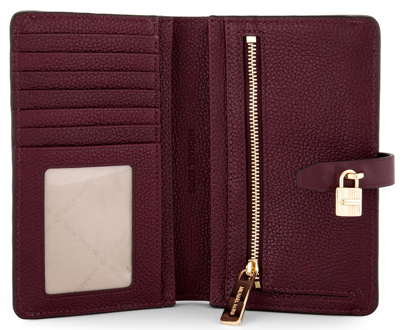 45517c4dd9fb48 Michael Kors Adele Slim Bifold Leather Wallet - Merlot | Catch.com.au