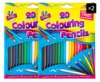 2 x Colouring Pencils 20pk 1