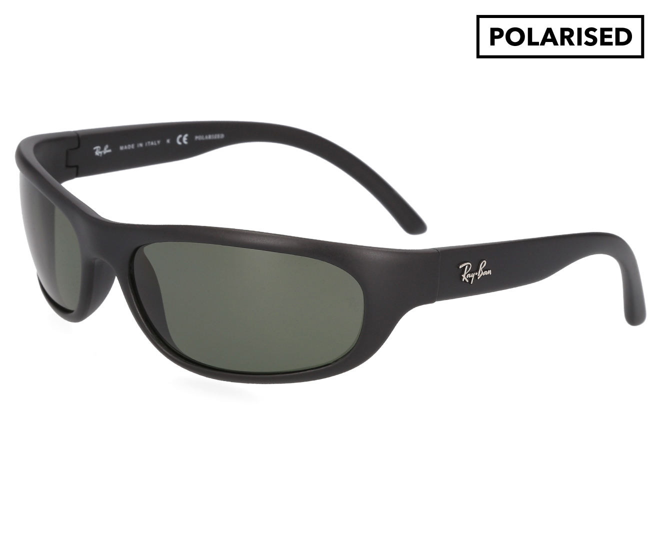 05907f34509f Ray-Ban Rectangle RB4033 Polarised Sunglasses - Matte Black Green.  139.00.  In Stock