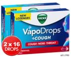 2 x Vicks VapoDrops + Cough Berry Menthol Lozenges 16pk 1
