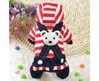 Legendog Pet Clothes Apparel Bear Striped Dog Clothing Hoodie-Red 3