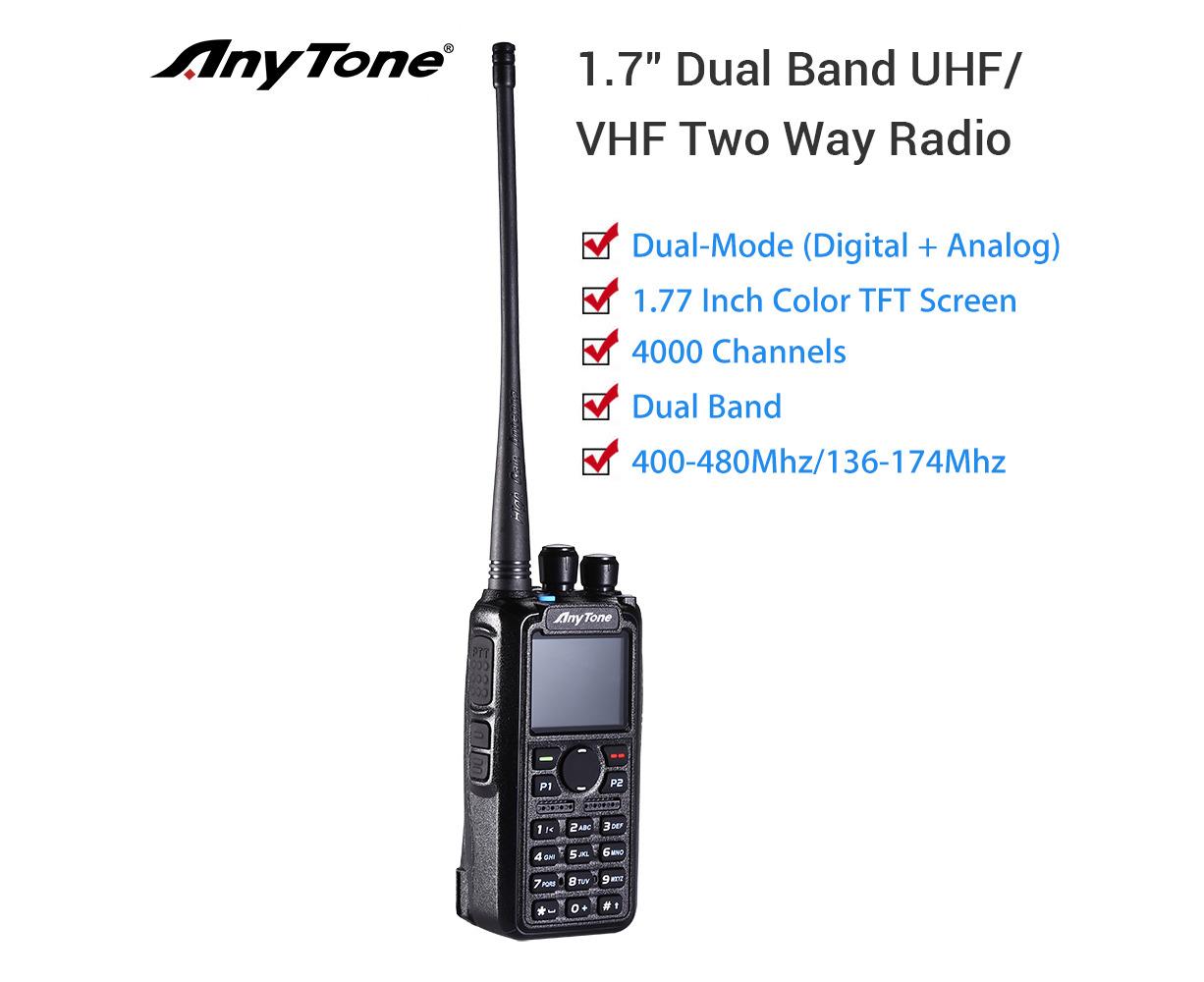 AnyTone AT-D878UV GPS Dual Band DMR/Analog radio with 3100 mAh battery