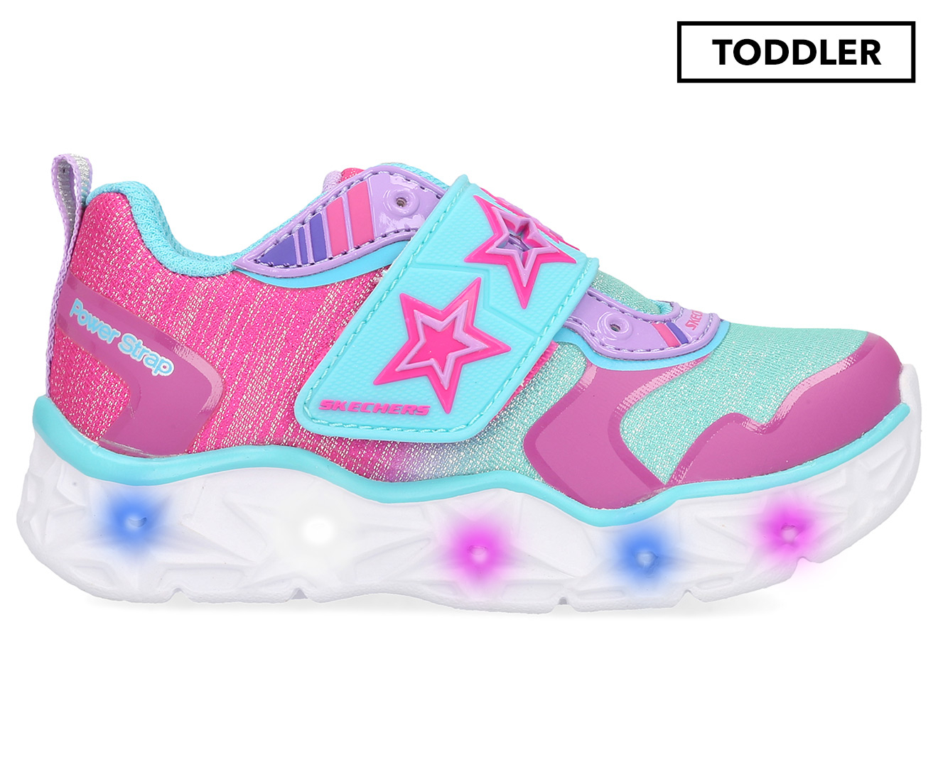 Details about Skechers Toddler Girls' Galaxy Lights Cosmic Kicks Shoe Neon PinkTurquoise