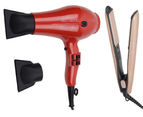 Cabello Pro 4600 Hair Dryer (Red) + Silk Smooth Styler (Gold) 1