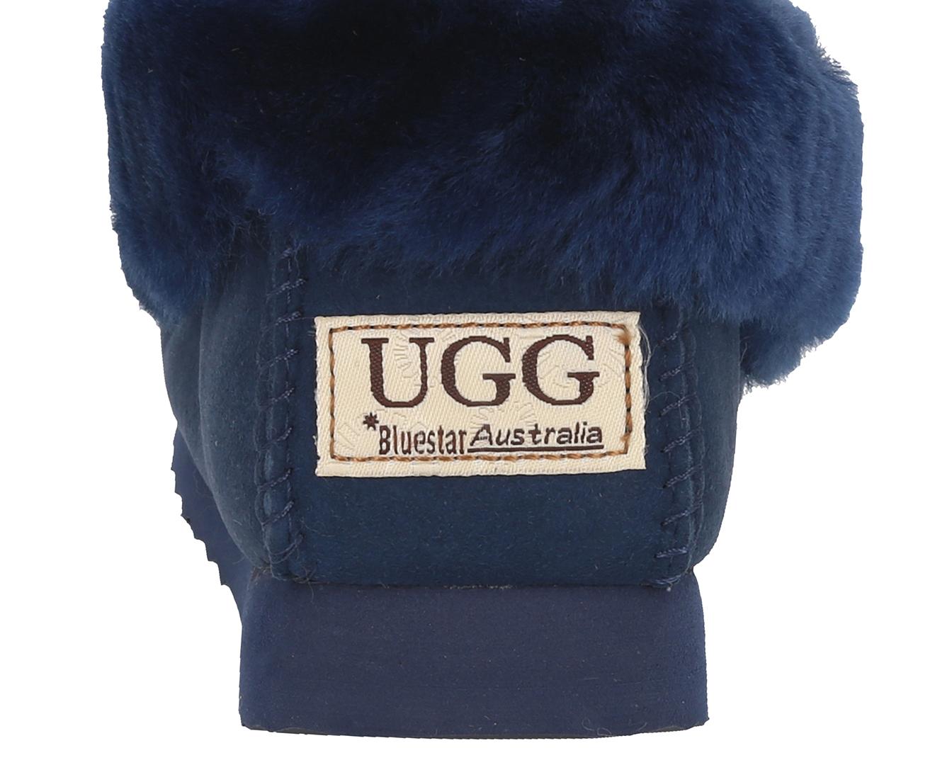 50e94cf6525 Bluestar Women's Premium Australian Sheepskin Ugg Moccasin - Navy