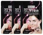 3 x Beauty Formulas Rose Gold Glitter Peel-Off Facial Mask 10g 1