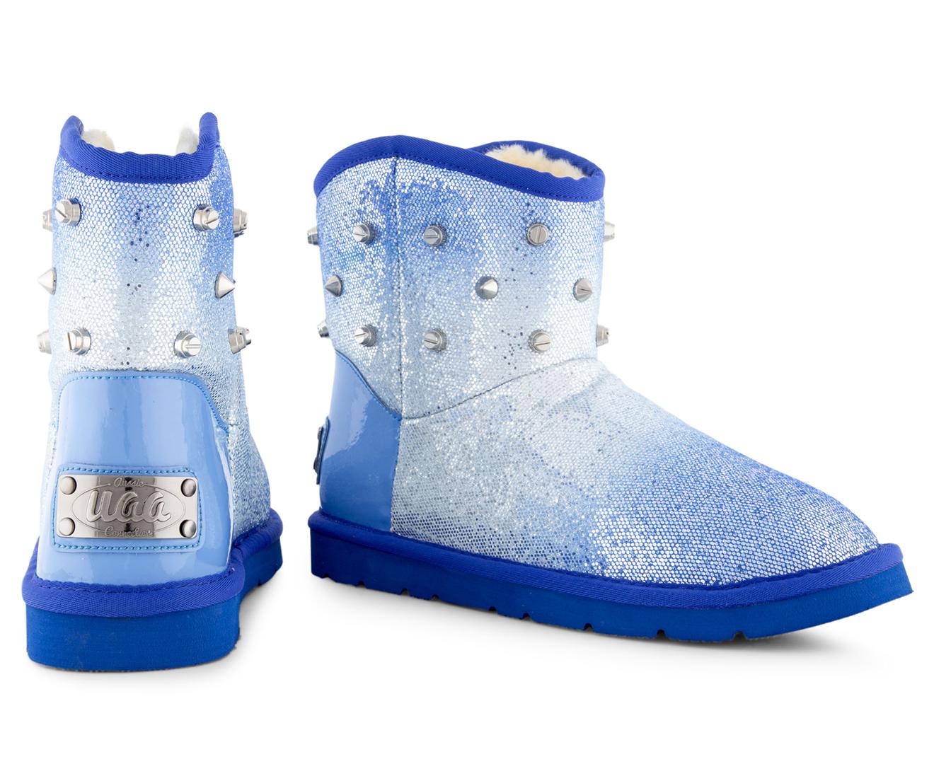 f96afdbd251 Bluestar Women's Premium Australian Sheepskin Studs Ugg Boot - Silver/Blue