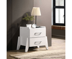 Wooden White Bedside Table  2 Drawers Storage Cabinet Nightstand 1