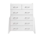 Wooden White Tallboy 6 Chest of Drawers Storage Shelf 2