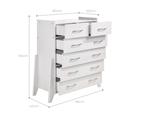 Wooden White Tallboy 6 Chest of Drawers Storage Shelf 4