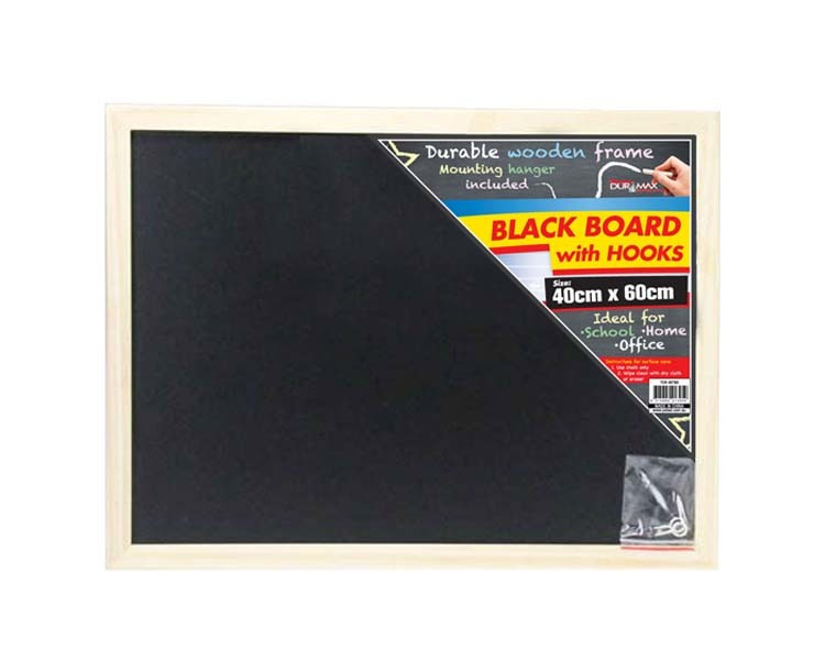 1pce Blackboard W/ Wooden Frame   60x40cm With Mounting Hanger by Catch